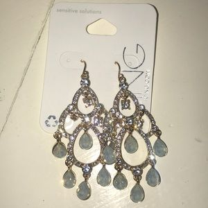 Gold Sparkly Earrings w/Light Blue Gems